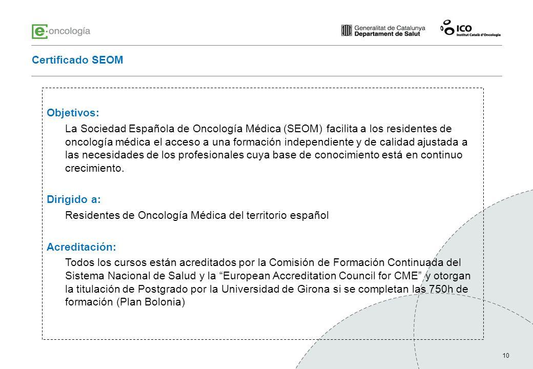 Residentes de Oncología Médica del territorio español Acreditación: