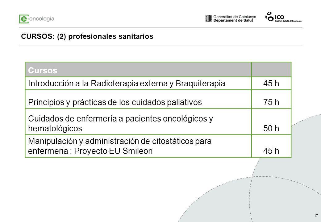 CURSOS: (2) profesionales sanitarios