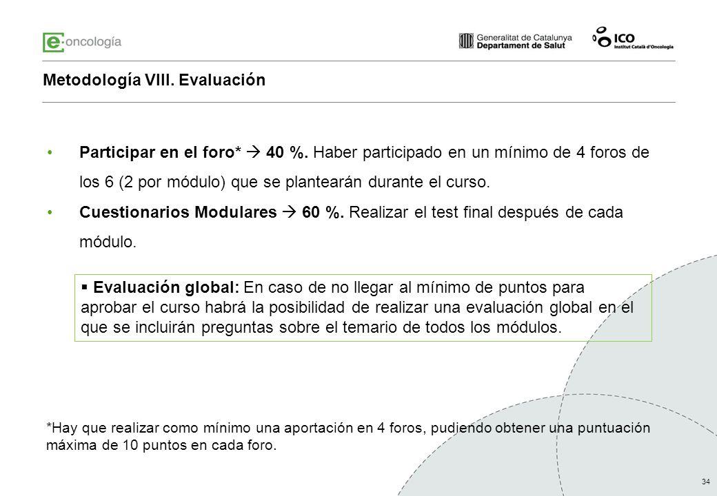 Metodología VIII. Evaluación