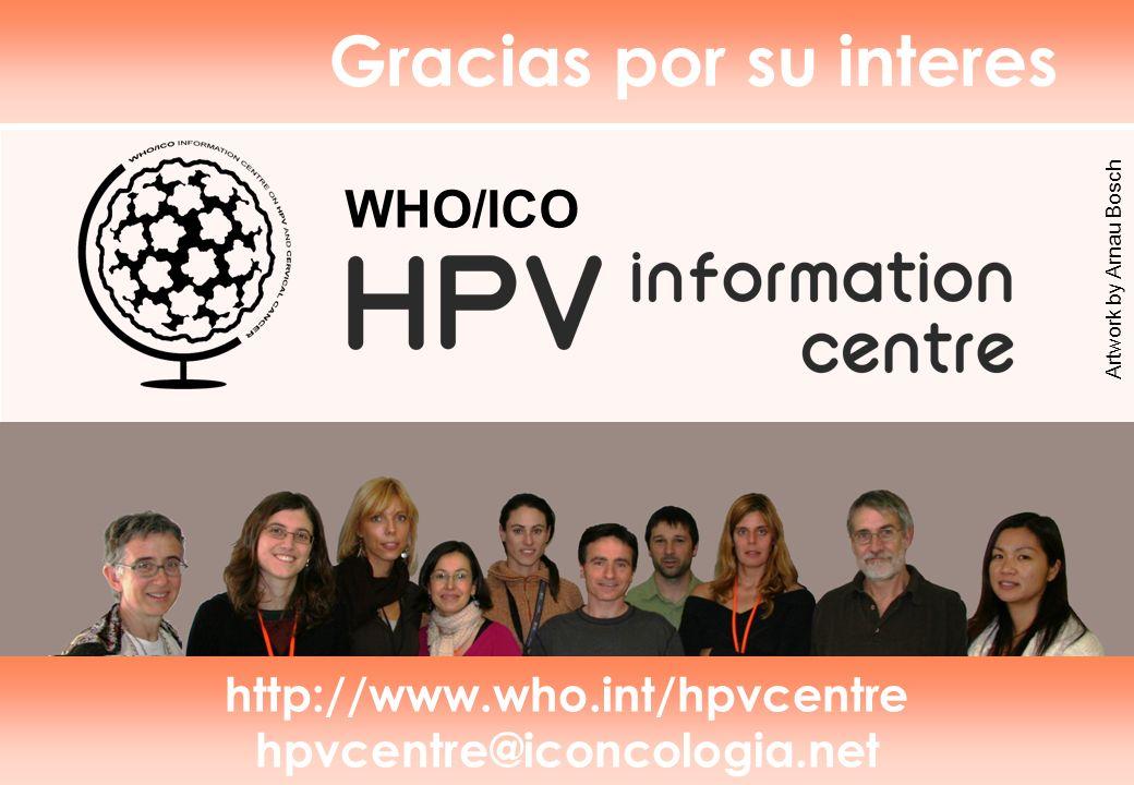 Gracias por su interes WHO/ICO http://www.who.int/hpvcentre