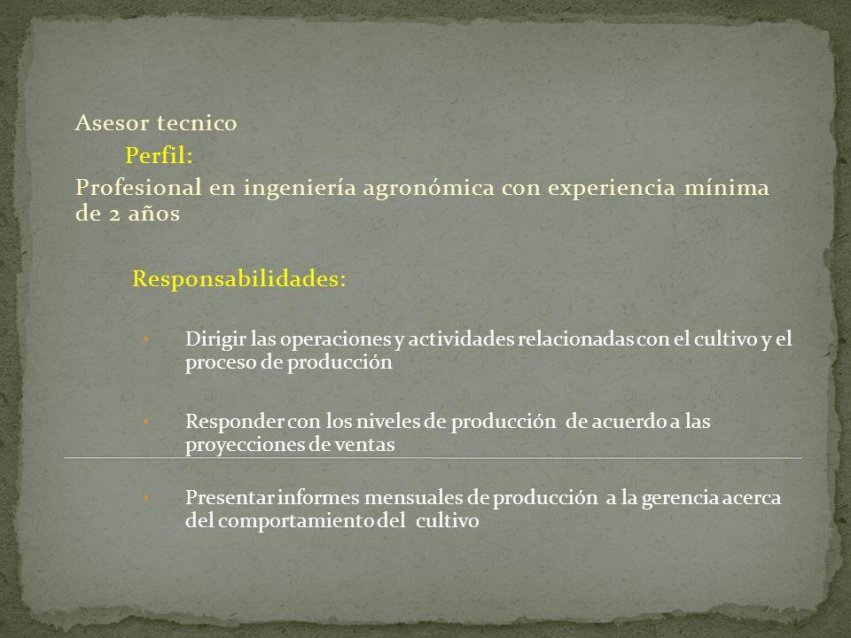 Profesional en ingeniería agronómica con experiencia mínima de 2 años