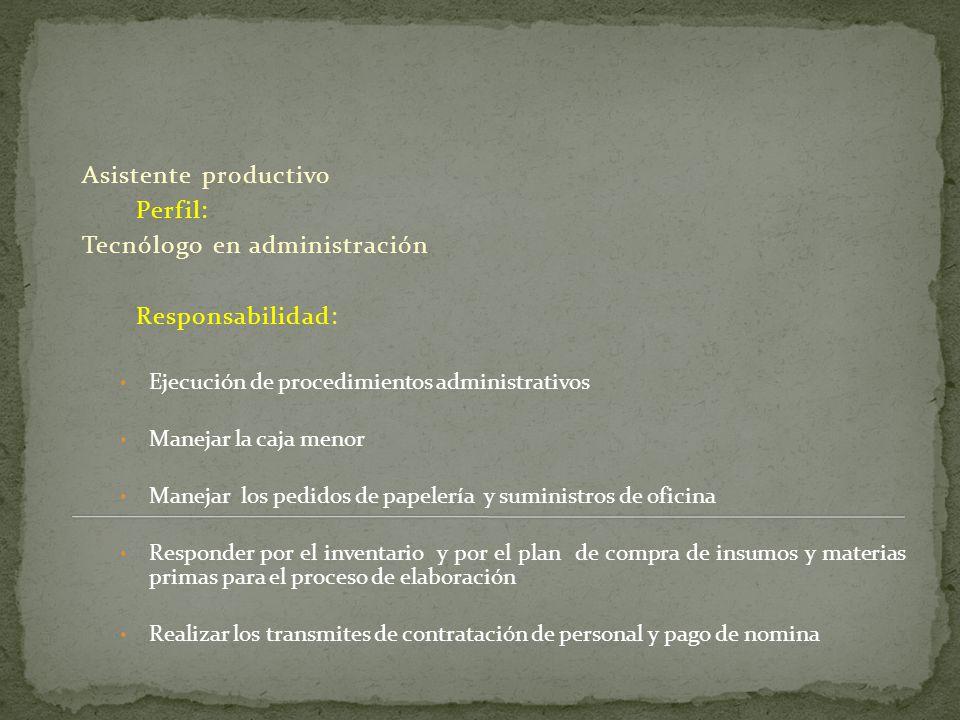 Tecnólogo en administración Responsabilidad: