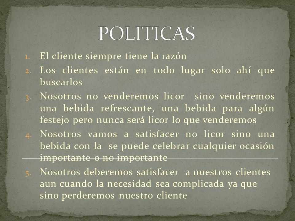 POLITICAS El cliente siempre tiene la razón