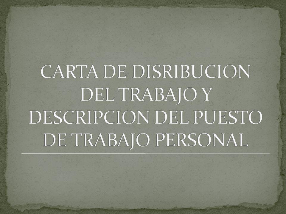 CARTA DE DISRIBUCION DEL TRABAJO Y DESCRIPCION DEL PUESTO DE TRABAJO PERSONAL