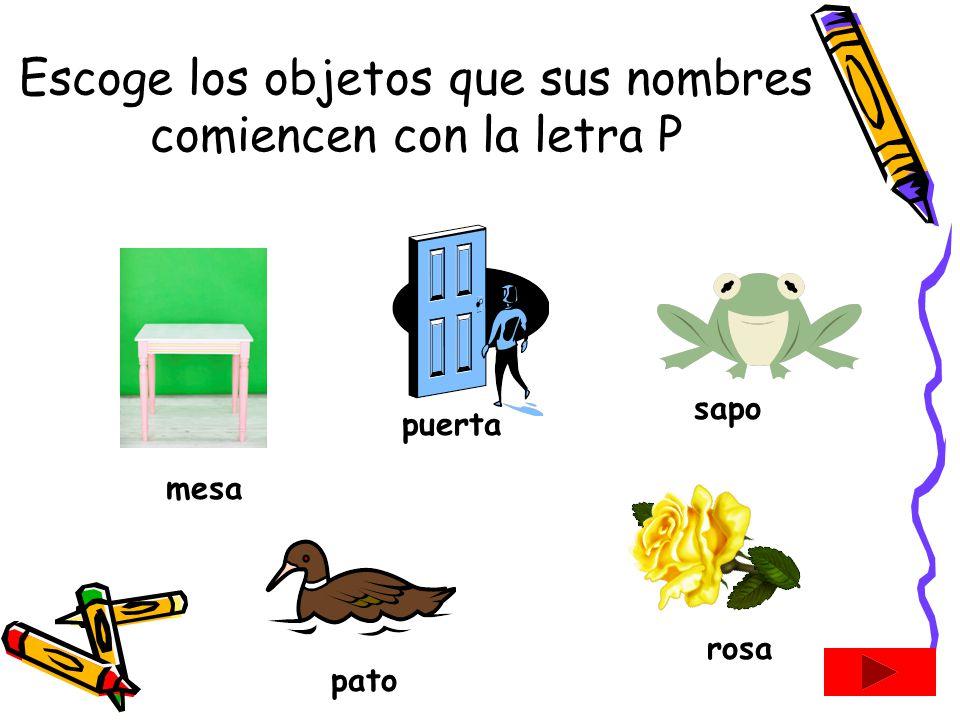 Escoge los objetos que sus nombres comiencen con la letra P