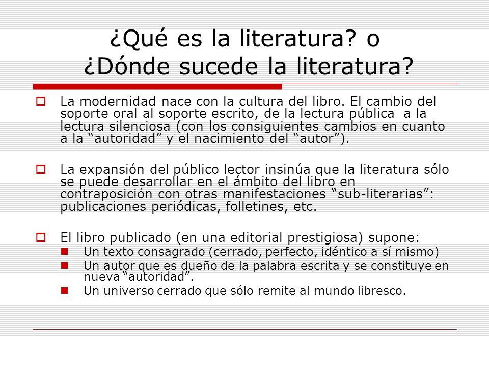 ¿Qué es la literatura o ¿Dónde sucede la literatura