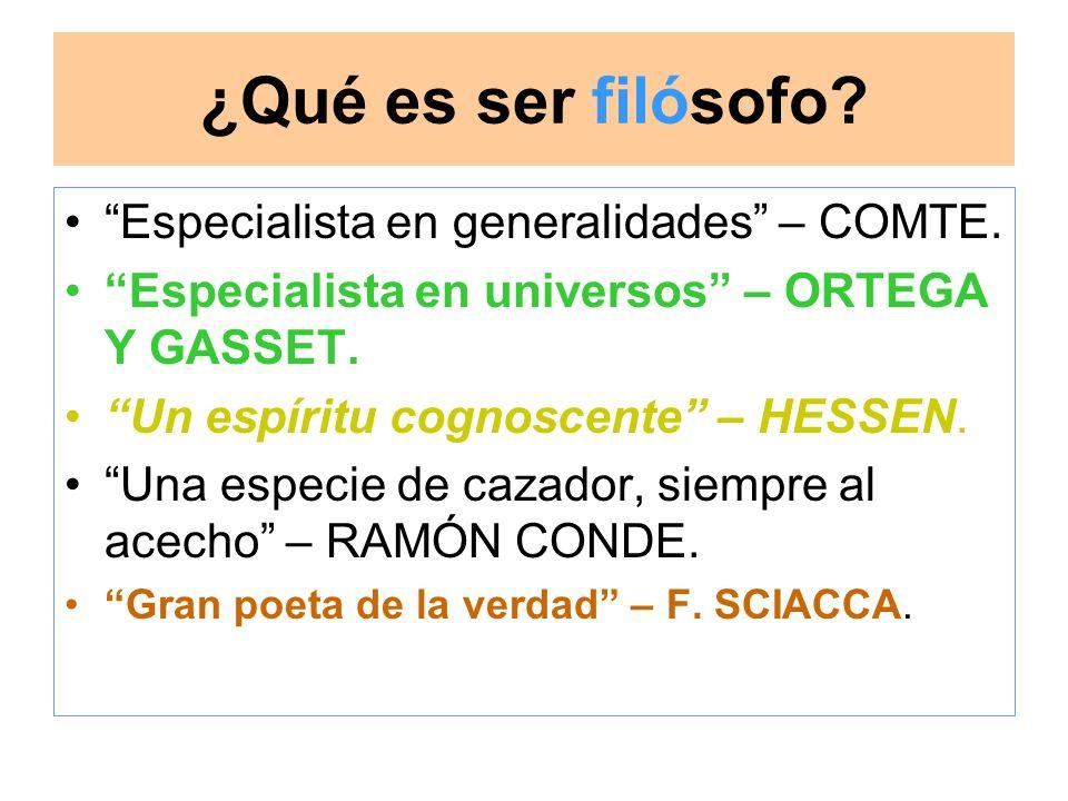 ¿Qué es ser filósofo Especialista en generalidades – COMTE.
