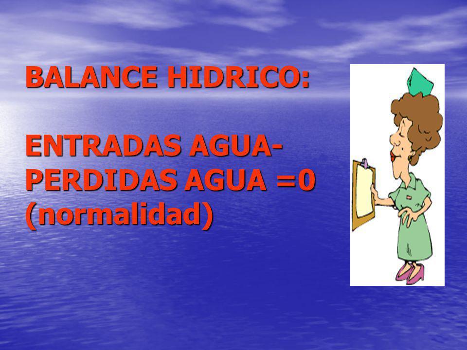BALANCE HIDRICO: ENTRADAS AGUA-PERDIDAS AGUA =0 (normalidad)