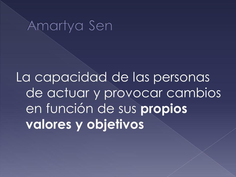 Amartya SenLa capacidad de las personas de actuar y provocar cambios en función de sus propios valores y objetivos.