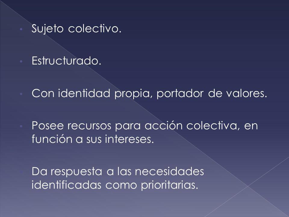Sujeto colectivo. Estructurado. Con identidad propia, portador de valores. Posee recursos para acción colectiva, en función a sus intereses.