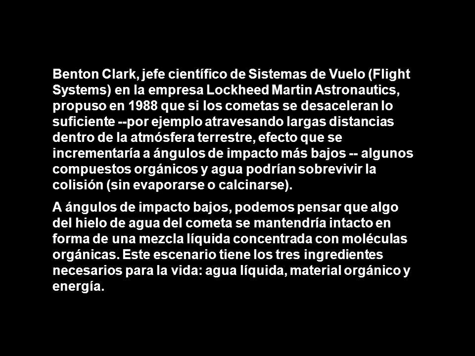 Benton Clark, jefe científico de Sistemas de Vuelo (Flight Systems) en la empresa Lockheed Martin Astronautics, propuso en 1988 que si los cometas se desaceleran lo suficiente --por ejemplo atravesando largas distancias dentro de la atmósfera terrestre, efecto que se incrementaría a ángulos de impacto más bajos -- algunos compuestos orgánicos y agua podrían sobrevivir la colisión (sin evaporarse o calcinarse).