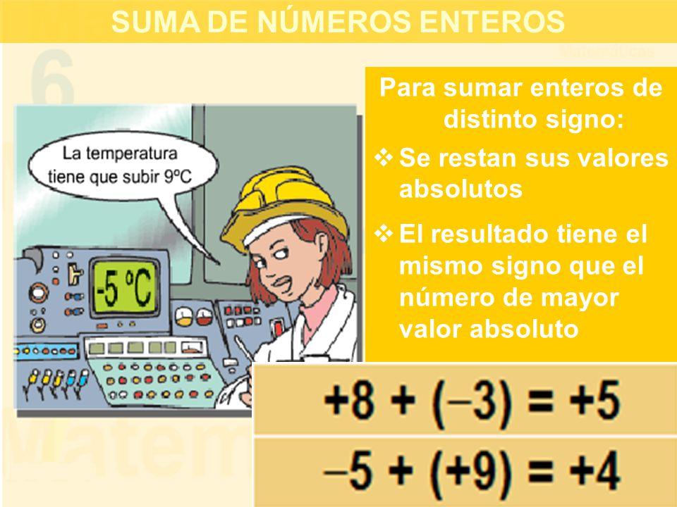SUMA DE NÚMEROS ENTEROS Para sumar enteros de distinto signo: