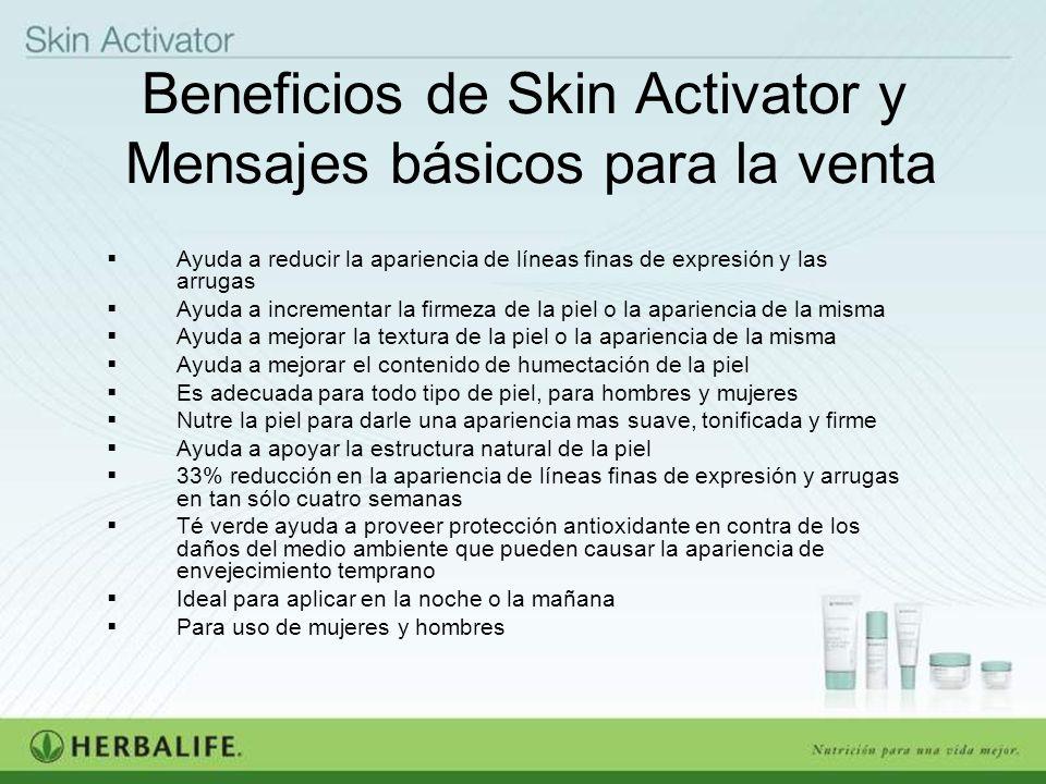 Beneficios de Skin Activator y Mensajes básicos para la venta