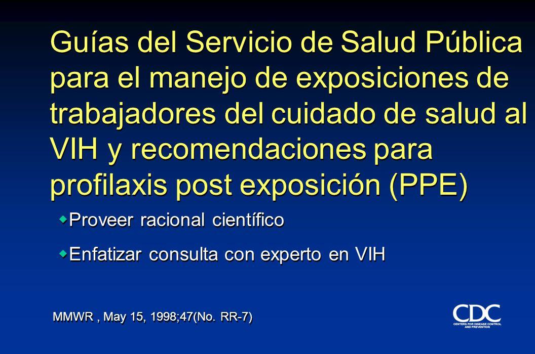 Guías del Servicio de Salud Pública para el manejo de exposiciones de trabajadores del cuidado de salud al VIH y recomendaciones para profilaxis post exposición (PPE)