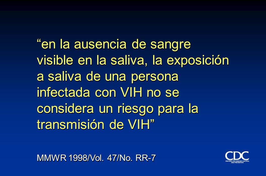 en la ausencia de sangre visible en la saliva, la exposición a saliva de una persona infectada con VIH no se considera un riesgo para la transmisión de VIH