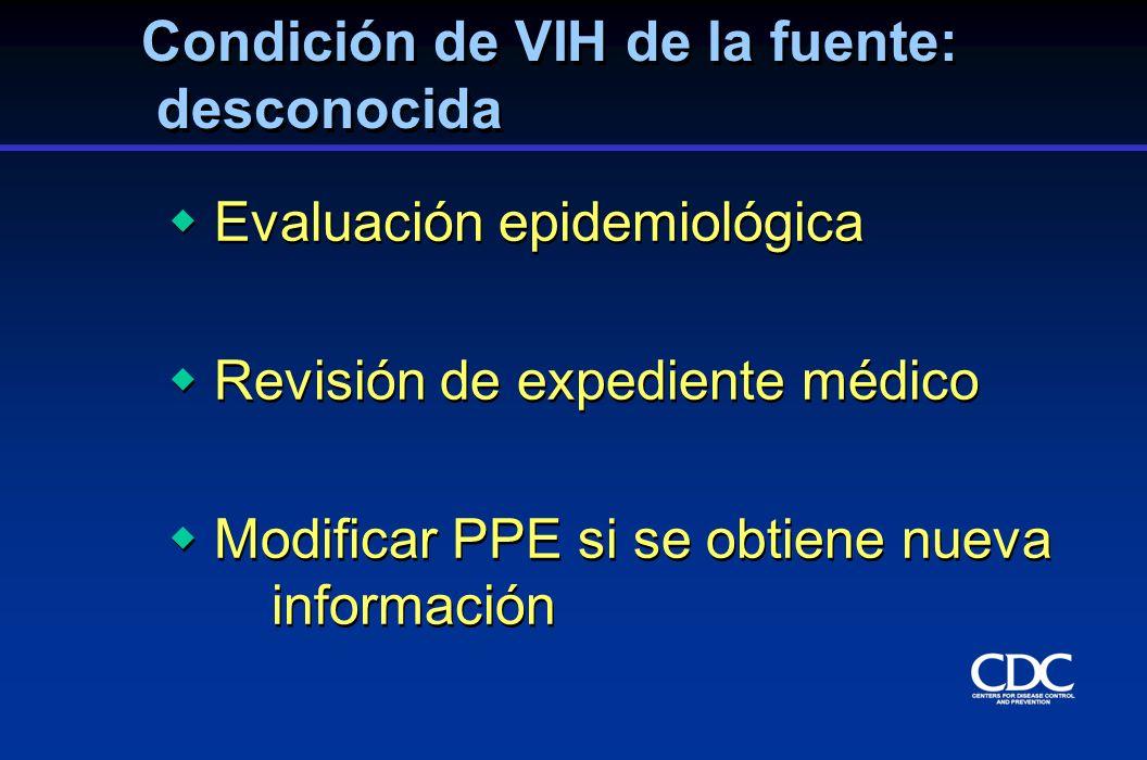 Condición de VIH de la fuente: desconocida