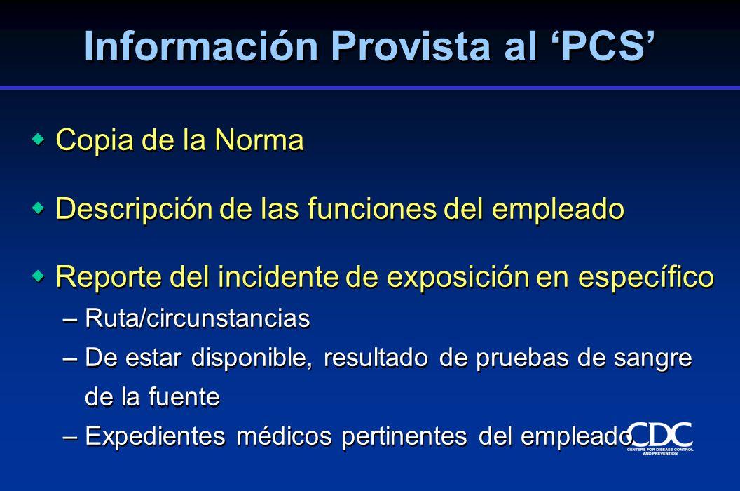 Información Provista al 'PCS'