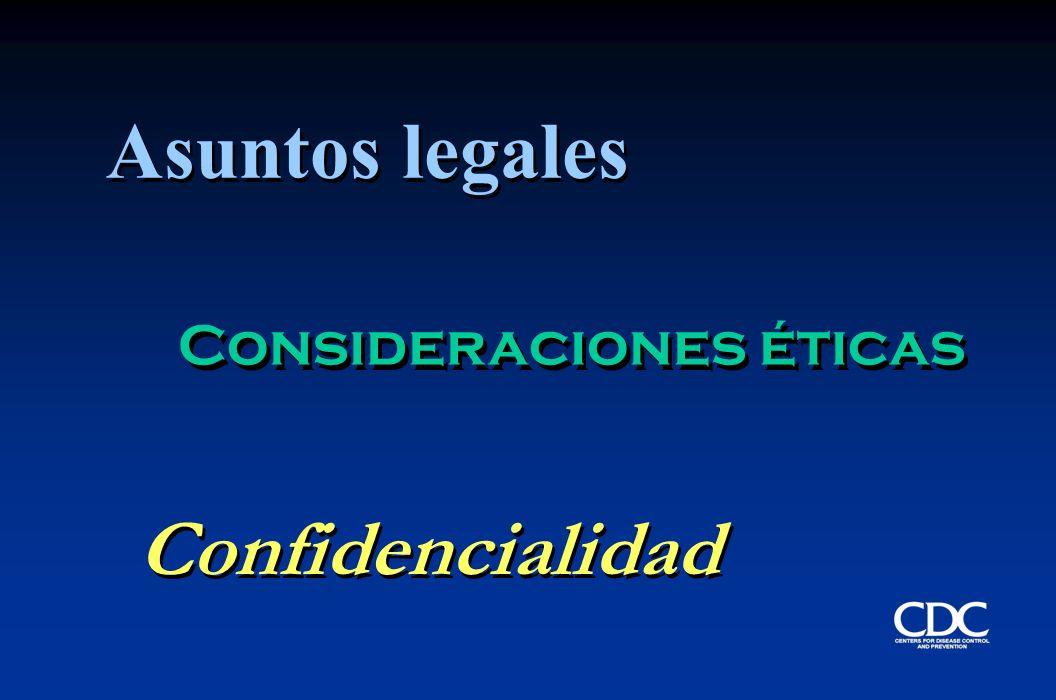 Asuntos legales Confidencialidad Consideraciones éticas