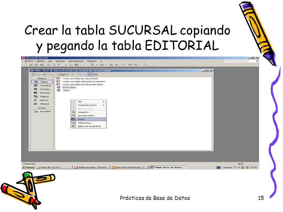Crear la tabla SUCURSAL copiando y pegando la tabla EDITORIAL