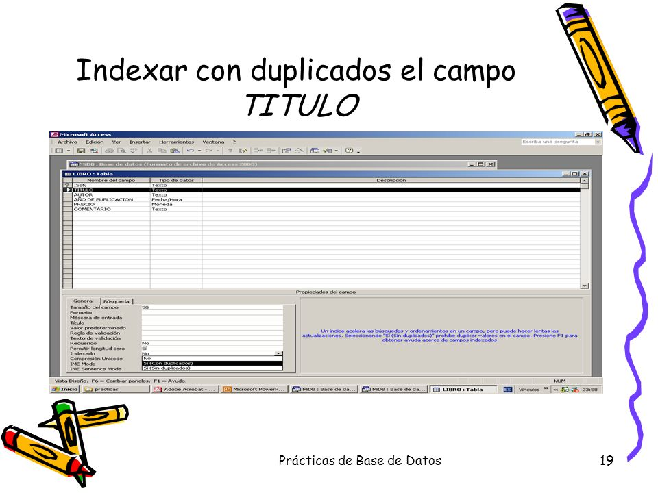 Indexar con duplicados el campo TITULO