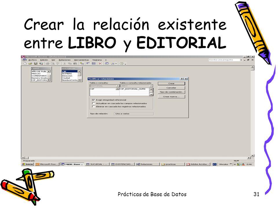 Crear la relación existente entre LIBRO y EDITORIAL