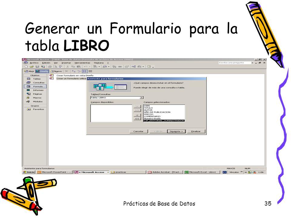 Generar un Formulario para la tabla LIBRO