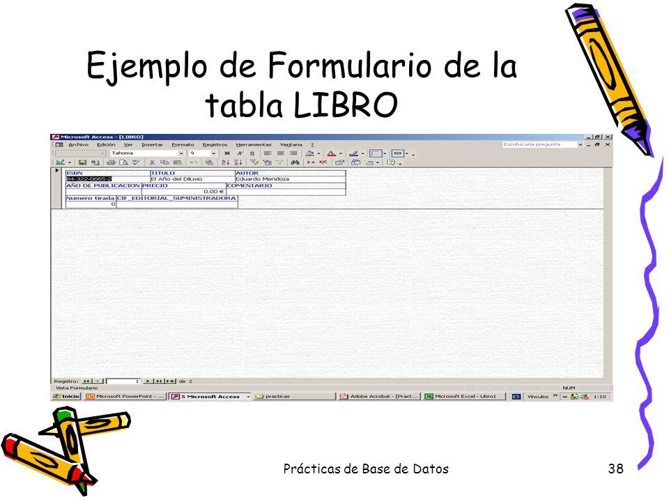Ejemplo de Formulario de la tabla LIBRO