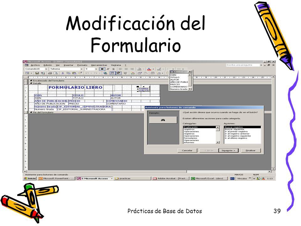 Modificación del Formulario