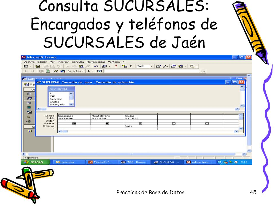 Consulta SUCURSALES: Encargados y teléfonos de SUCURSALES de Jaén