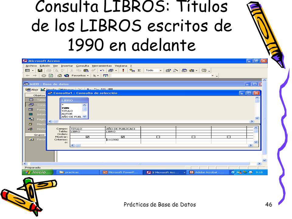 Consulta LIBROS: Títulos de los LIBROS escritos de 1990 en adelante