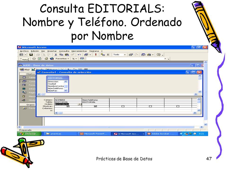 Consulta EDITORIALS: Nombre y Teléfono. Ordenado por Nombre