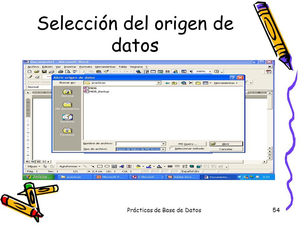 Selección del origen de datos