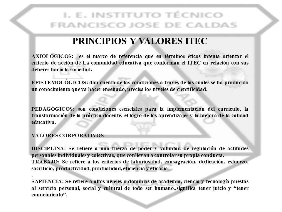 PRINCIPIOS Y VALORES ITEC