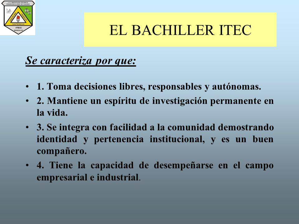 EL BACHILLER ITEC Se caracteriza por que: