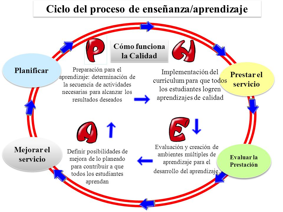 Ciclo del proceso de enseñanza/aprendizaje Cómo funciona la Calidad