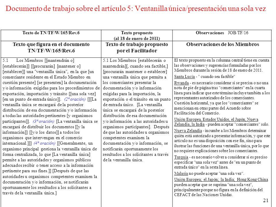 Documento de trabajo sobre el artículo 5: Ventanilla única/presentación una sola vez