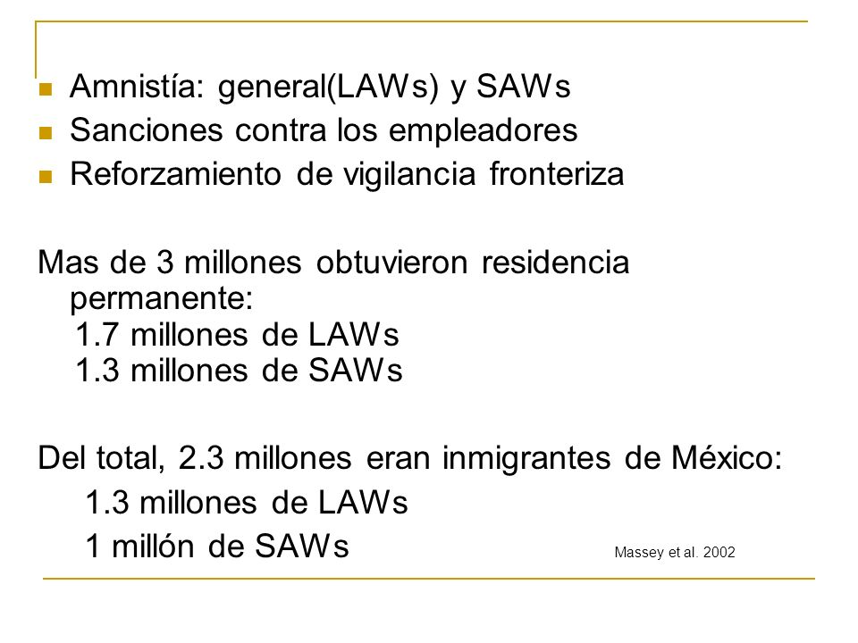 Amnistía: general(LAWs) y SAWs