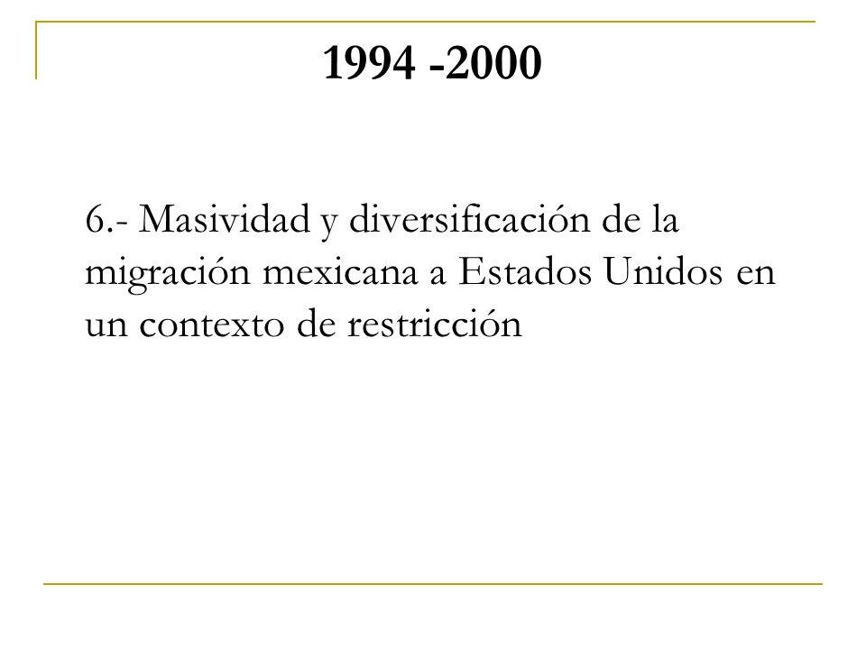 1994 -2000 6.- Masividad y diversificación de la migración mexicana a Estados Unidos en un contexto de restricción.