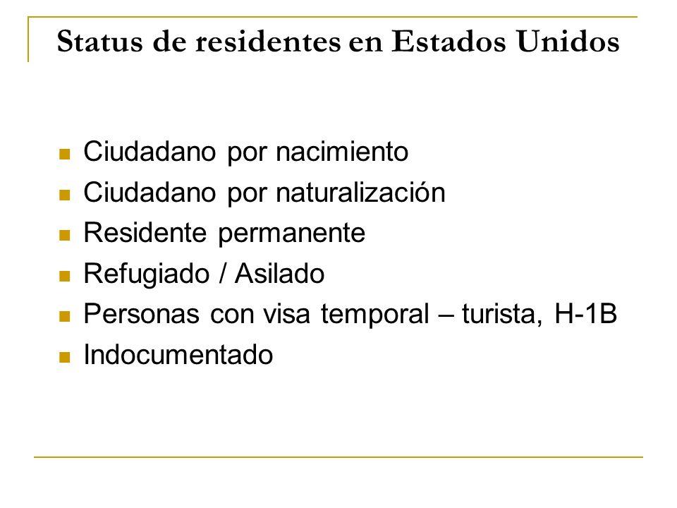 Status de residentes en Estados Unidos