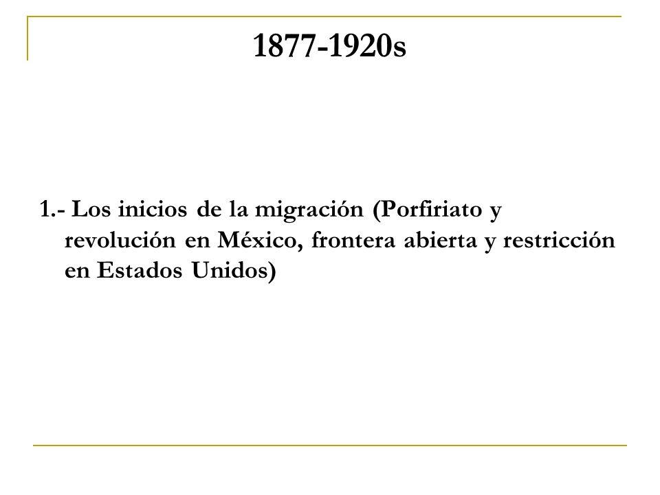 1877-1920s 1.- Los inicios de la migración (Porfiriato y revolución en México, frontera abierta y restricción en Estados Unidos)