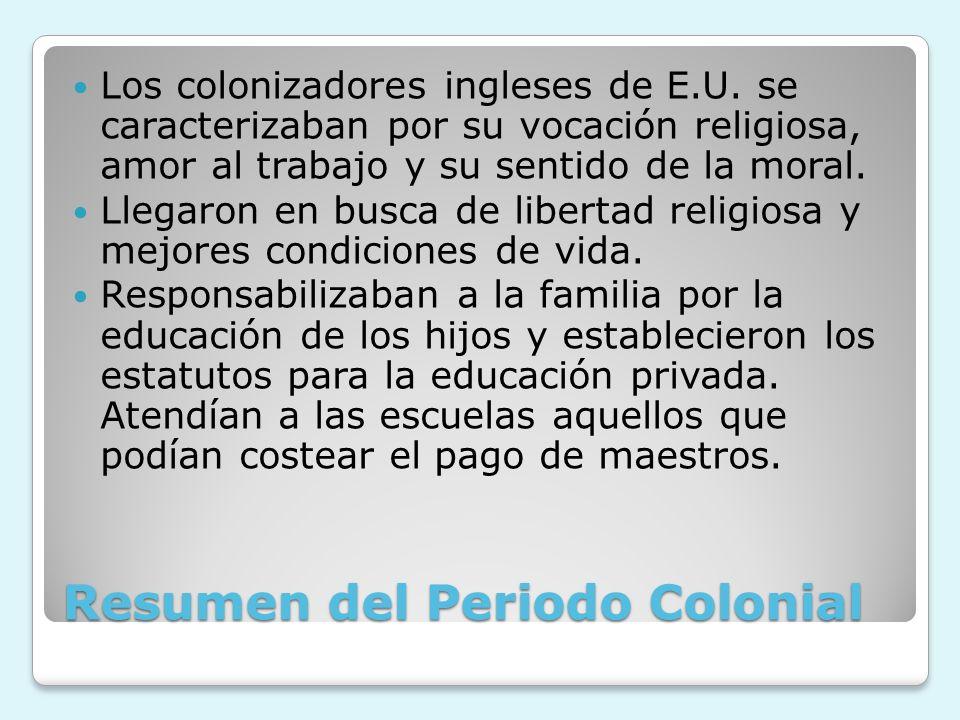 Resumen del Periodo Colonial