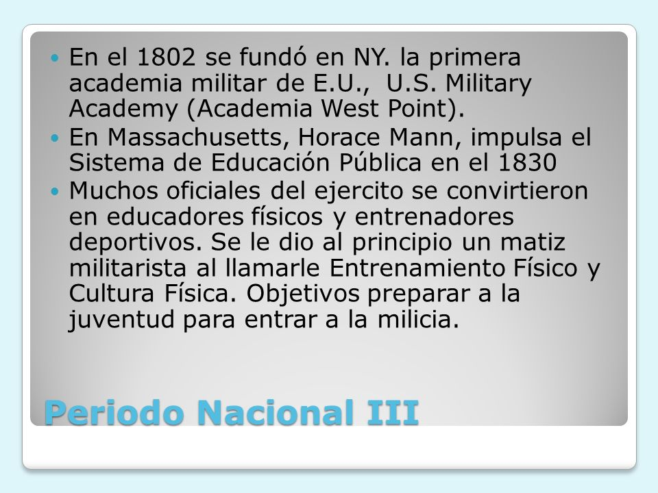 En el 1802 se fundó en NY. la primera academia militar de E. U. , U. S