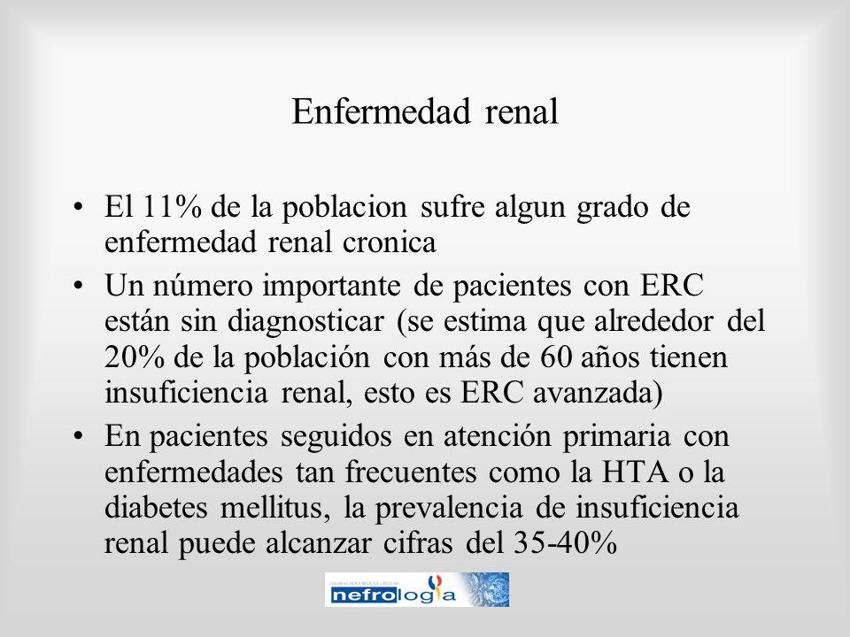 Enfermedad renalEl 11% de la poblacion sufre algun grado de enfermedad renal cronica.