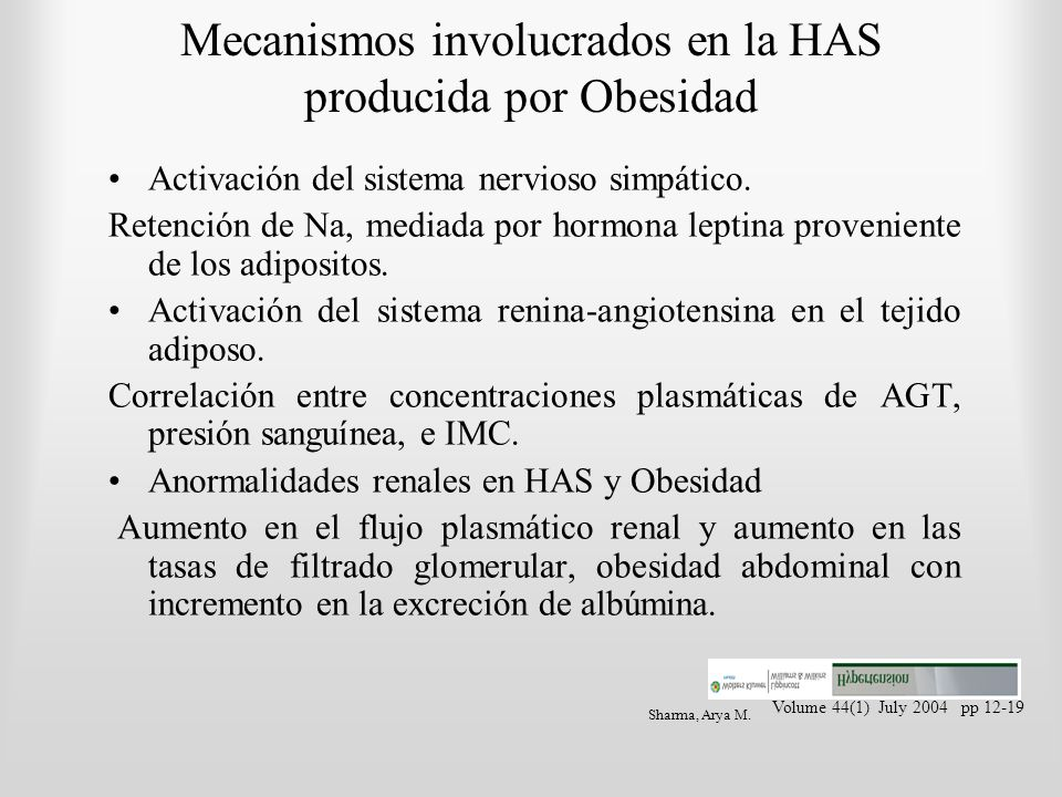 Mecanismos involucrados en la HAS producida por Obesidad