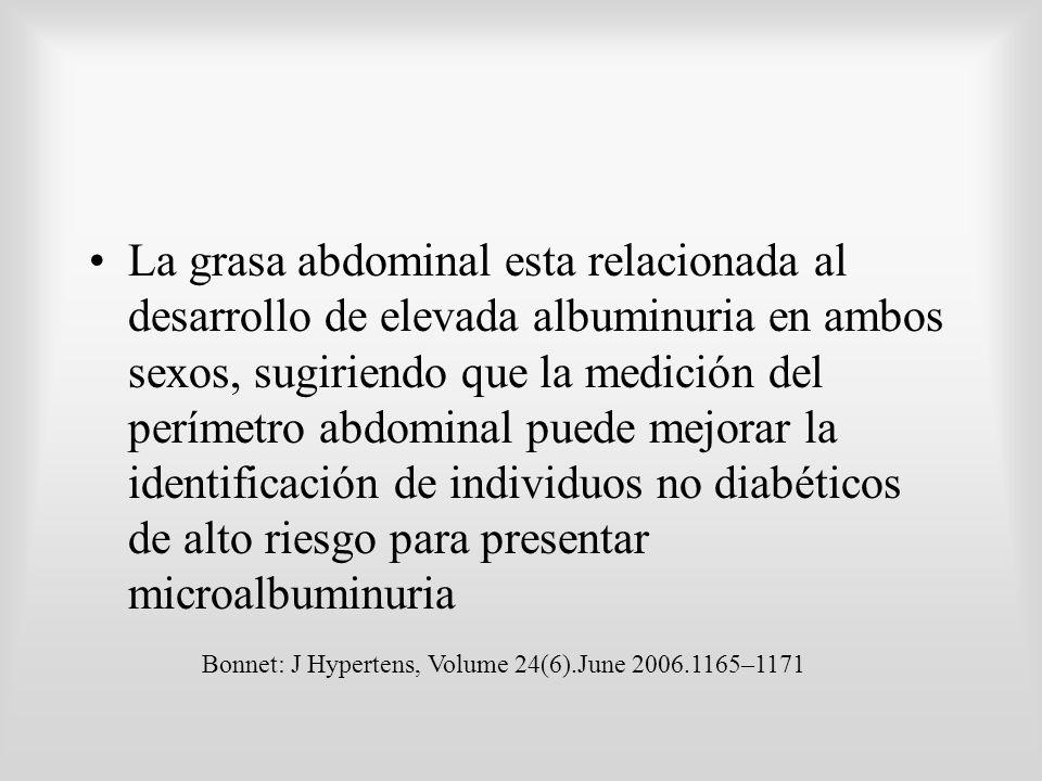 La grasa abdominal esta relacionada al desarrollo de elevada albuminuria en ambos sexos, sugiriendo que la medición del perímetro abdominal puede mejorar la identificación de individuos no diabéticos de alto riesgo para presentar microalbuminuria