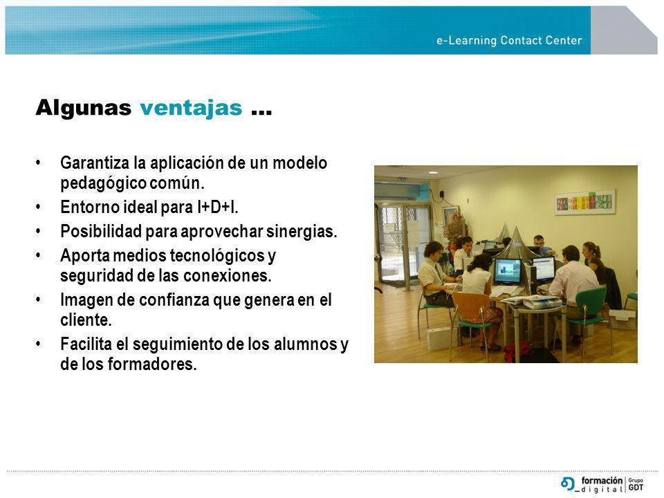 Algunas ventajas … Garantiza la aplicación de un modelo pedagógico común. Entorno ideal para I+D+I.