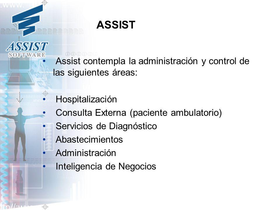 ASSIST Assist contempla la administración y control de las siguientes áreas: Hospitalización.