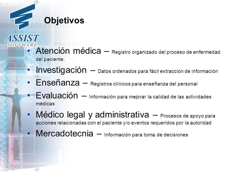 Objetivos Atención médica – Registro organizado del proceso de enfermedad del paciente.