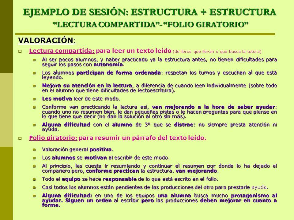 EJEMPLO DE SESIÓN: ESTRUCTURA + ESTRUCTURA LECTURA COMPARTIDA - FOLIO GIRATORIO