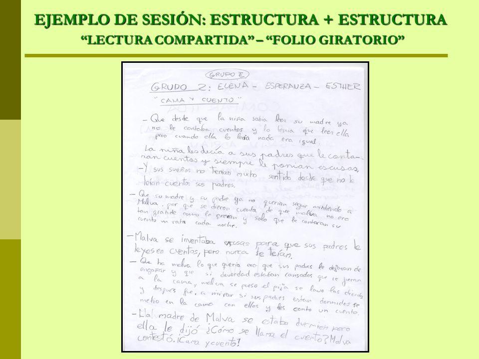 EJEMPLO DE SESIÓN: ESTRUCTURA + ESTRUCTURA LECTURA COMPARTIDA – FOLIO GIRATORIO